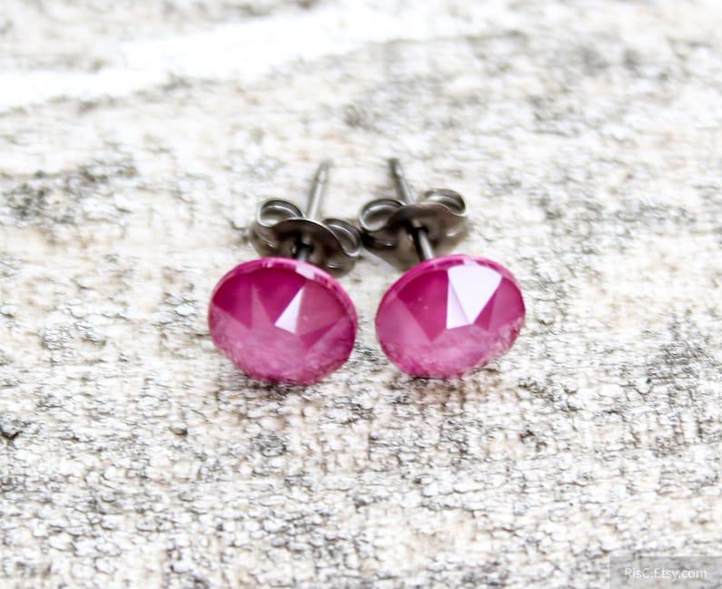 8919e5703 Titanium Earrings Peony Pink Swarovski Crystal Lacquer   Etsy