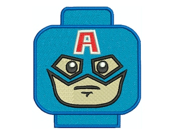 Captain America LEGO HEAD - Machine Filled Embroidery - Instant Digital Download