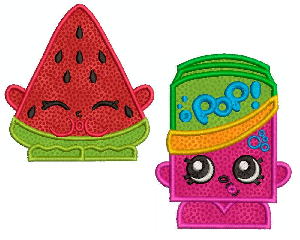 Shopkins Wassermelone und Soda Maschine Applikation | Etsy