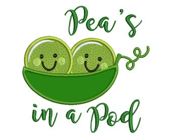 Pea's in a Pod, Baby - Machine Applique Embroidery - Instant Digital Download