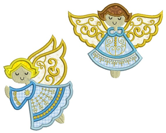 Angels 1 Machine Applique Embroidery 2 Patterns In 3 Sizes Etsy
