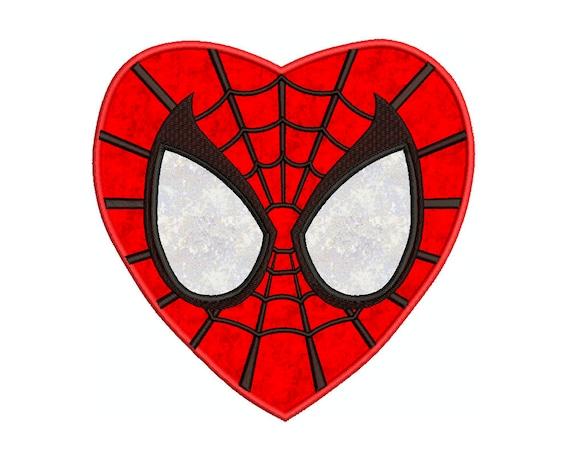 SPIDERMAN Herz Superhelden Applikation Maschinenstickerei | Etsy