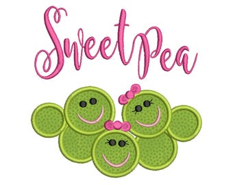 Sweet Pea, Baby - Machine Applique Embroidery - Instant Digital Download