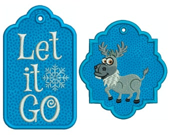 In-The-Hoop TAGS * Let It * Machine Applique Embroidery * Instant Digital Download