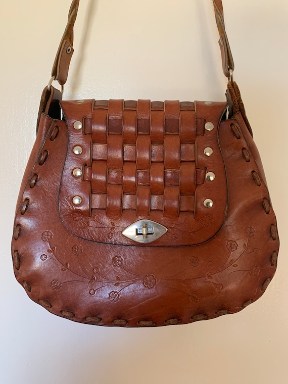 1970s Vintage Brown Leather Tooled Bag
