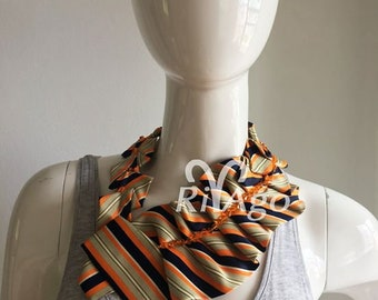 RivAgo tie necklace in orange, navy blue and ivory