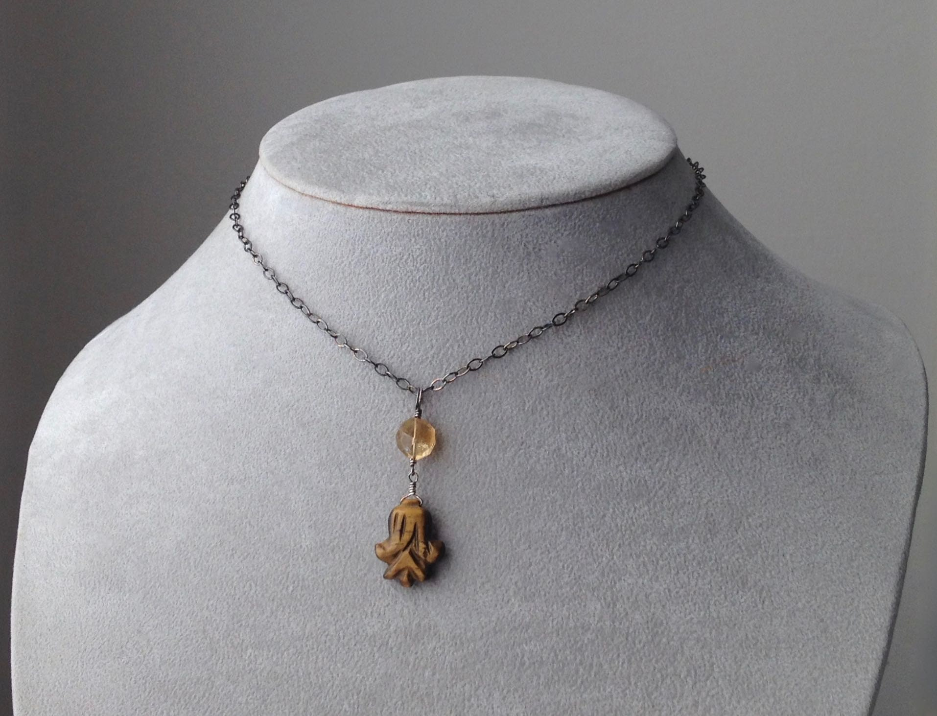 Water Drop Natural Shiny Golden Citrine Silver Drop Necklace Pendants With Chain