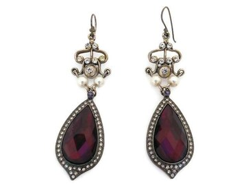 Fuschia Drop Earrings - upcycled vintage one of a kind handcrafted rhinestone