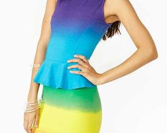 Rainbow Gradient Neon Colorful Peplum Dress - Sizes Extra Small To Small