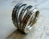 Sterling Silver Ring, Statement Ring, oxidised Silver Ring, Grooved Cocktail Ring, Silver Wires Ring, Grooved Silver Wire, Chunky Ring K 315