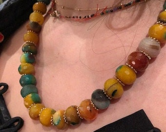 Chunky mustard Stones Necklace, Natural Stones Necklace, Agate Necklace, Earth Tones Necklace, Gold Agate Necklace