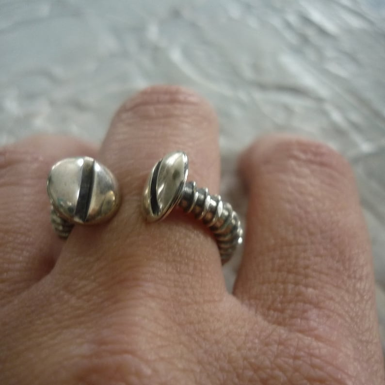 Unisex Screw Ring Oxidized Silver Ring Screw Ring Modern Ring Screw Shape Ring Mens Sterling Silver Ring Industrial Ring K#152