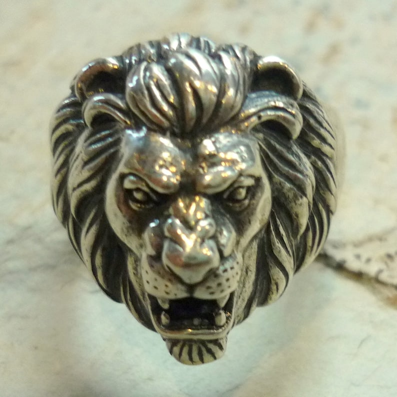 9f9729b6736c3 Lion Head Ring, Sterling Silver ring, Lion Ring, Animal Ring, Silver  Sculpture Ring, Silver Unisex Ring, Oxidized Silver Ring, mens ring