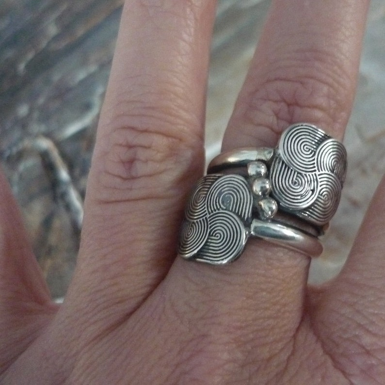Eternity Spirals Ring Statement Ring Chunky Sterling Silver Ring Silver Balls Ring K#204 Wire Silver Ring Silver Eternity Spirals Ring