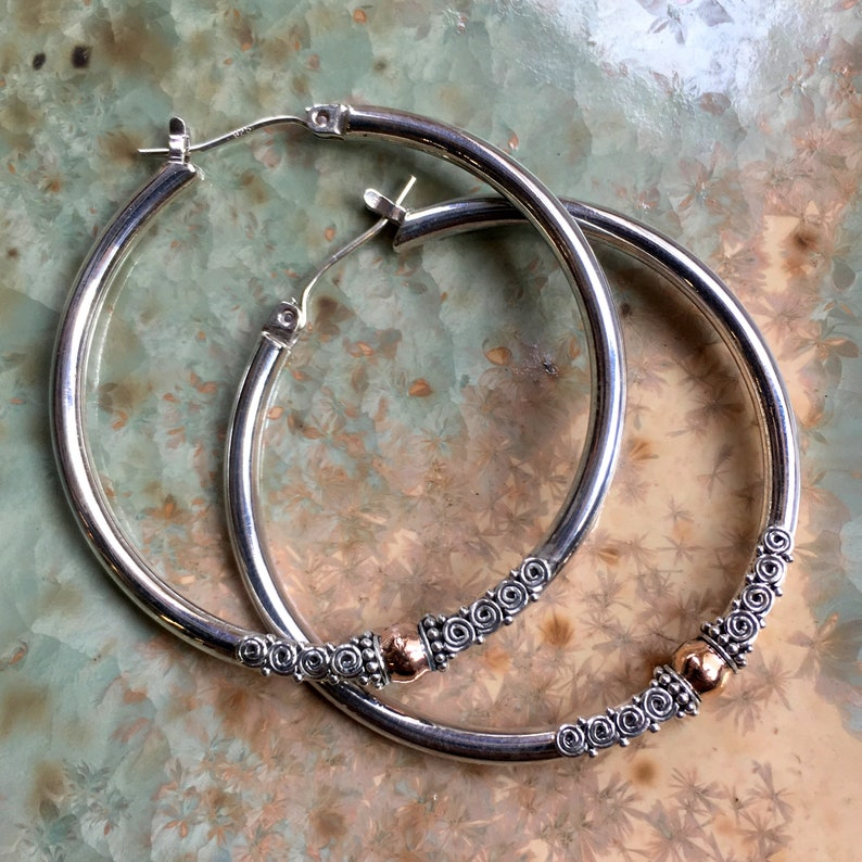 Silver Gold Earrings two tones EF801.35 Filigree Earrings large Hoop Earrings Mixed Metal Hoop Earrings Sterling Silver hoop Earrings
