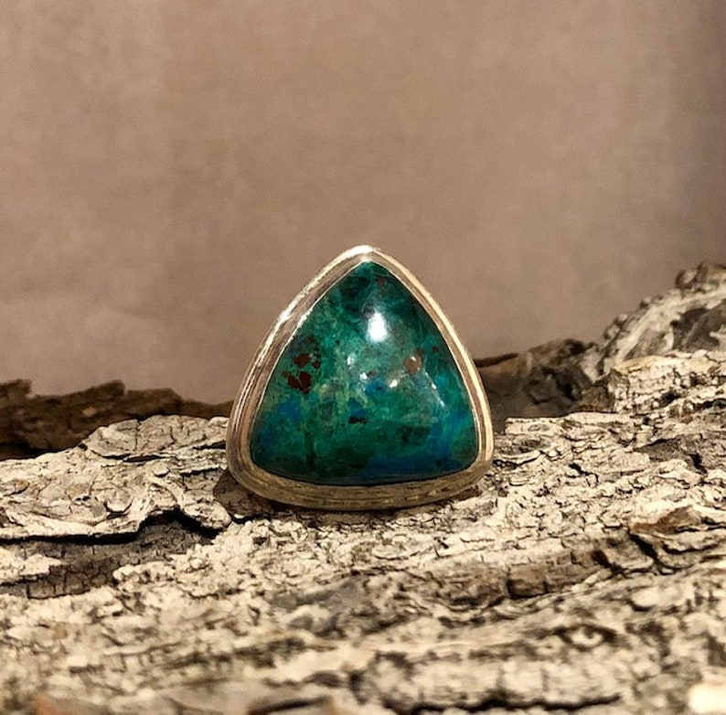statement ring Extra Large stone ring #96 Cocktail ring Gemstone Ring Triangle Chrysocolla ring sterling silver ring