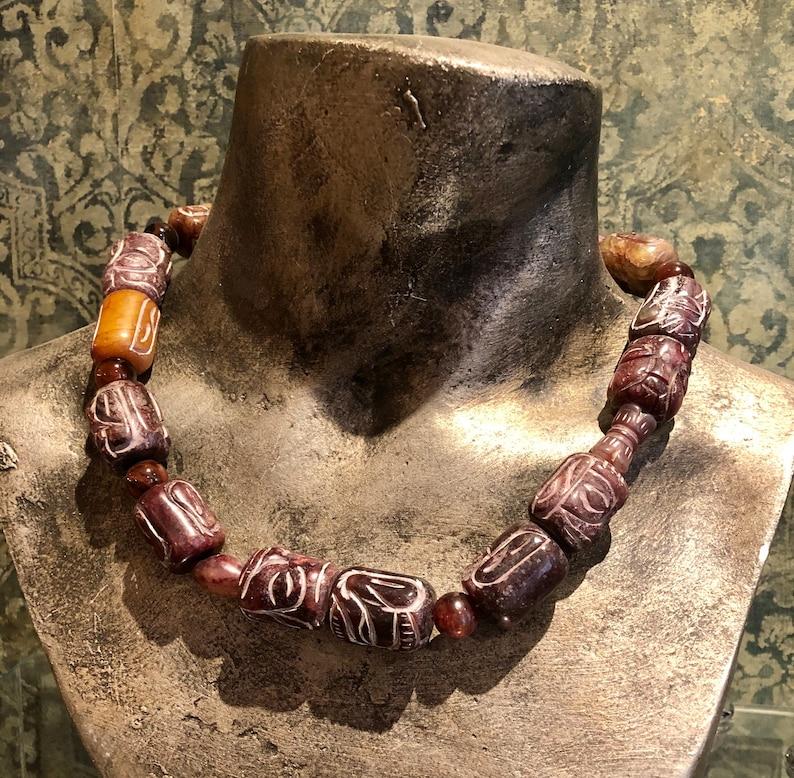 Burgundy Grooved Natural Agate Large Gemstones Statement Necklace