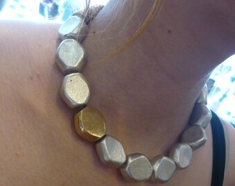 Chunky Necklace, Plated Silver and Gold Necklace, Two Toned Necklace, Statement Necklace, Elegant event Necklace, Big Metal Beads Necklace.