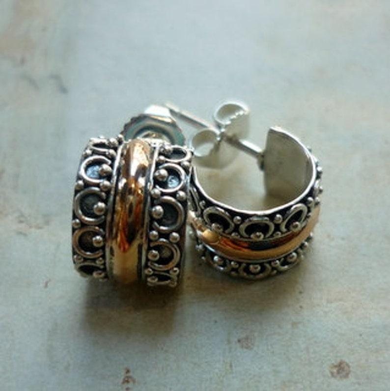 Silver Gold Earrings small hoop Earrings Silver Small ear Cuffs EH568 Filigree hoops Sterling Silver Rose Gold Earrings Cuff Huggies