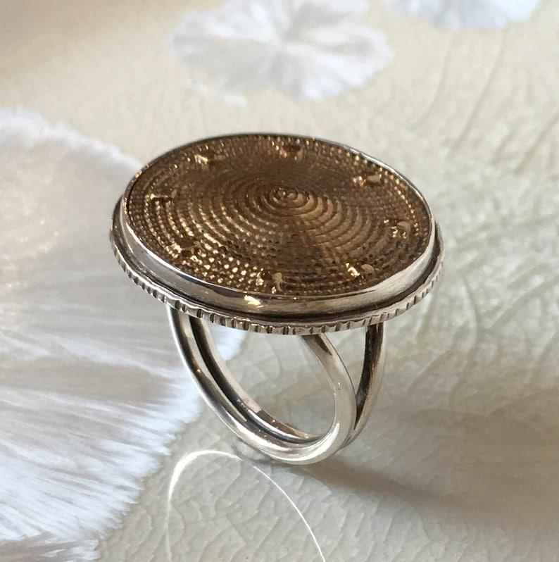 Round Brass Silver Ring Oxidized Silver Ring Statement Silver Ring Tribal Silver Ring Boho Chic Pattern Spiral Round Statement Ring