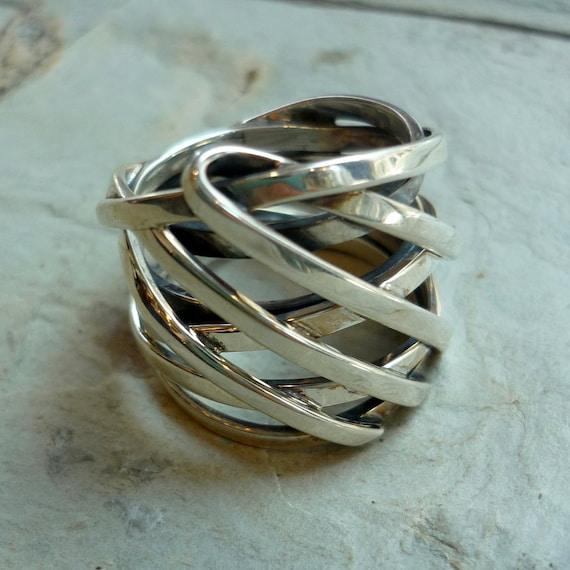 Sterling Silber Ring Silber Draht eingewickelt Ring breiter | Etsy