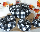 Fabric Pumpkins, Black and White Pumpkin, Buffalo Plaid Pumpkin, Black White Fall Decor, Farmhouse Pumpkin Decor, Rustic Fall, Halloween