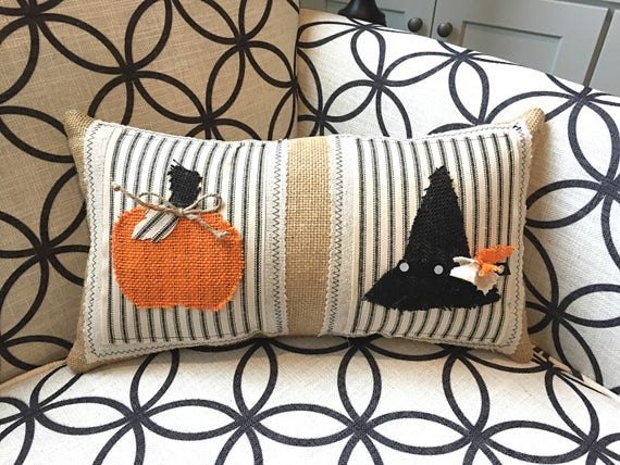 Halloween Pillow Fall Pillows Halloween Decorations Witch Etsy Gorgeous Halloween Pillows Decorations