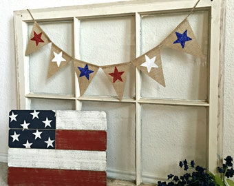 July 4th Banner, July 4 Mini Banner, July 4th Bunting, 4th of July Decor, Burlap Banner, Red White Blue, Patriotic Decor, July 4 Garland