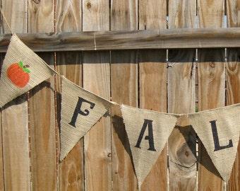 FALL Banner, Fall Burlap Banner, Fall Bunting, Fall Decorations, Banner for Fall, Autumn Bunting, Fall Sign, Fall Decor, Fall Flags, Autumn