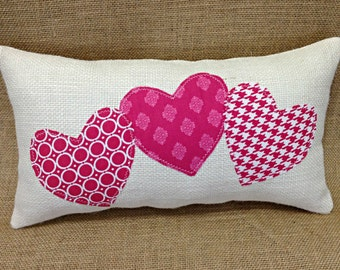 Valentine Pillow, Valentines Day Pillow, Heart Pillow, Pink Hearts, Valentine Gift, Valentines Day Gift, Burlap Pillow, Wedding Gift