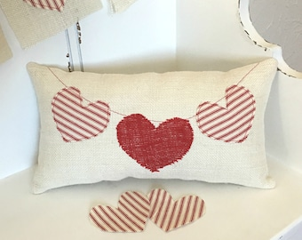 Valentines Day Pillow, Heart Pillow, Valentine Pillow, Farmhouse Pillow, Farmhouse Valentine Decor, Valentines Day Decor, Valentine Decor
