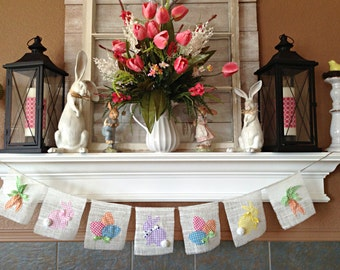 Easter Banner, Easter Decorations, Easter Garland, Easter Gift, Easter Decor, Farmhouse Easter, Easter Bunny Decor, Spring Garland, Bunting