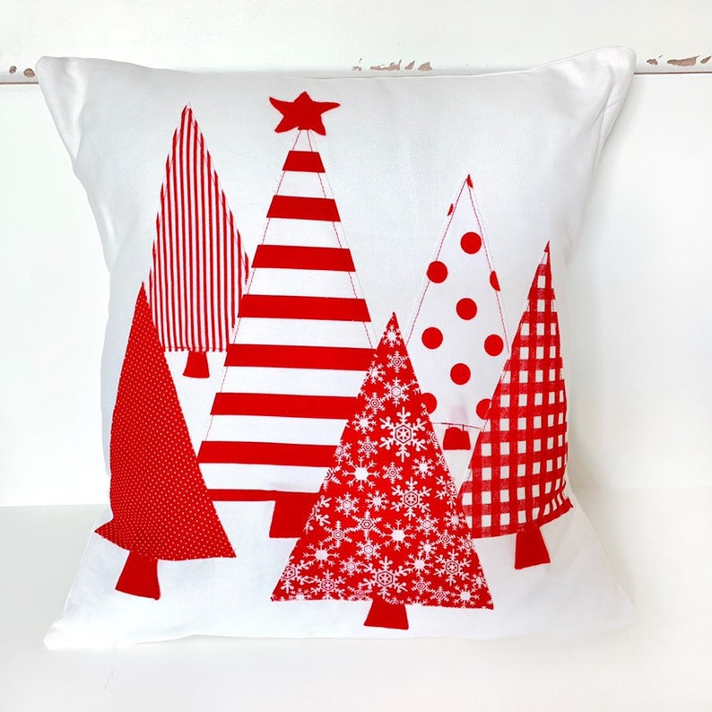 Christmas Trees Red Ticking Pillow