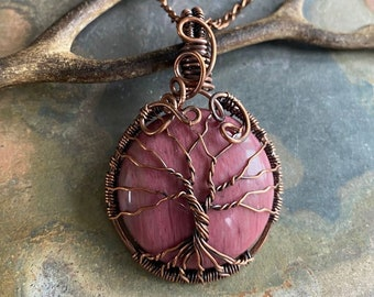 Rhodonite Pendant Necklace in Copper,  Wire Wrapped Rhodonite Tree of life Necklace, Rhodonite Jewelry, Gifts for Her, Rhodonite Jewelry