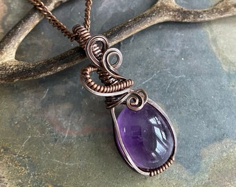 Wire Wrapped Amethyst Necklace in Antiqued Copper,Amethyst Pendant Necklace,Mom Gift,Wire wrapped Raw Amethyst Necklace, February Birthstone