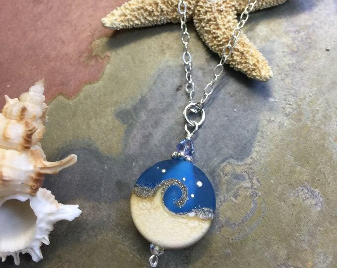 Beach Necklace, Ocean Wave Necklace in Sterling silver, Dark Blue Ocean Wave Lampwork Glass Necklace, Blue Ocean Wave Glass  Necklace,