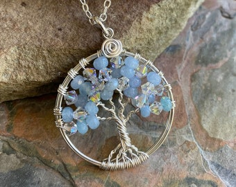Aquamarine Crystal Tree of Life Necklace Sterling Silver,March Birthstone Necklace,April Birthstone Necklace, Aquamarine Crystal Necklace