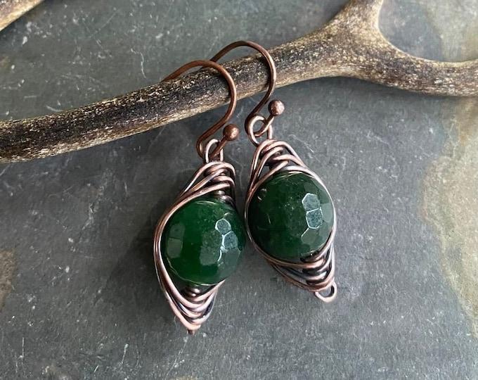 Jade Earrings in Antiqued Copper, Wire Wrapped Herringbone Green Jade Dangle Earrings,May Birthstone earrings, Healing Gemstone Earrings