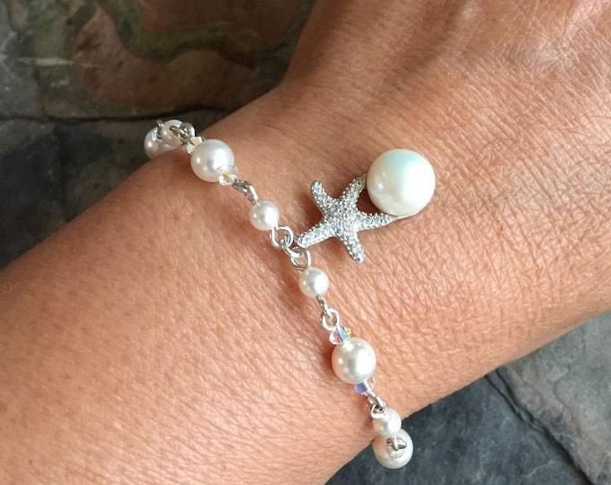 Starfish Charm Pearl Crystal Bracelet,Beach Starfish Necklace & Earrings, Starfish Ocean theme jewelry,Bridal Bracelet, Bridesmaid bracelet