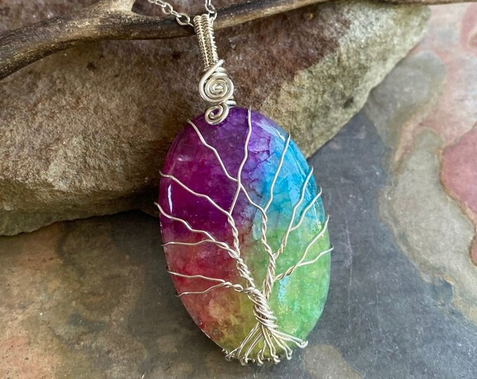 Sterling Silver Rainbow Quartz Necklace,Wire Wrapped Raw Aura Quartz Necklace,Rainbow Aura Quartz Healing Jewelry,Gifts for MOM, Quartz tree