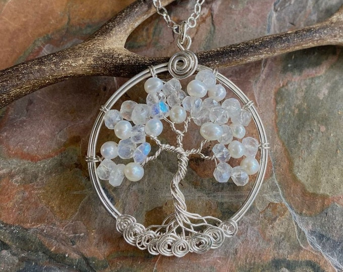Moonstone Necklace, Moonstone Tree of Life Necklace,Tree of Life Necklace Sterling Silver,Wire Wrapped Tree of life,June Birthstone Necklace