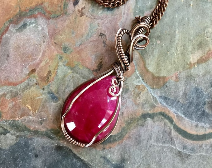 Ruby Necklace,Wire Wrapped Ruby Necklace Antiqued Copper,Genuine Ruby pendant Necklace,JULY Birthstone Necklace,Ruby Necklace, Ruby Jewelry