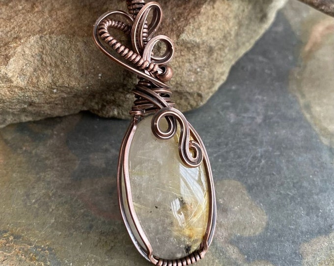 Wire Wrapped Natural Golden Rutile Quartz Oval Cabochon Necklace in Antiqued copper, Natural Rutilated Quartz Tree of Life Necklace