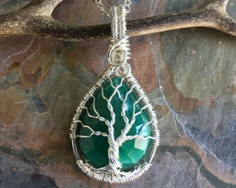 Wire Wrapped Emerald Necklace in Sterling Silver,Genuine Emerald Pendant Necklace, May Birthstone Necklace,Green Emerald Necklace, Emerald