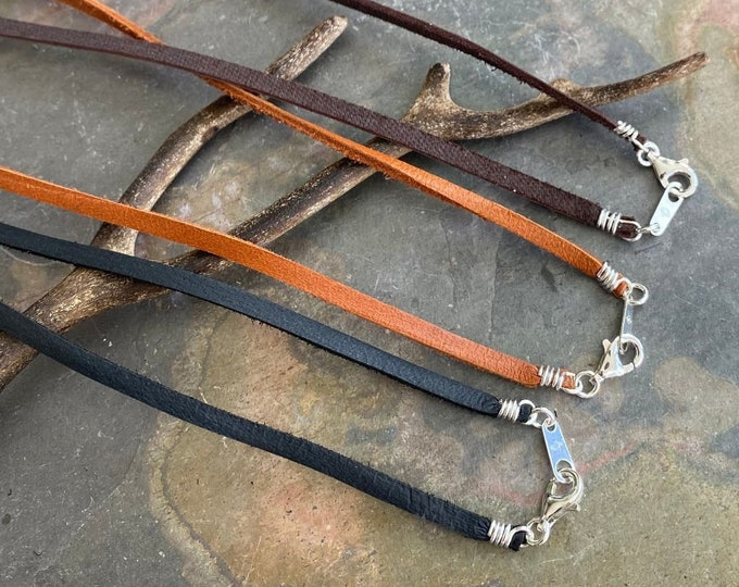 Sterling Silver finished Deerskin Lace Leather 3 mm Width, Black,Brown,Turquoise,Buckskin and Tan Leather 1/8 Inch width, Made in USA,