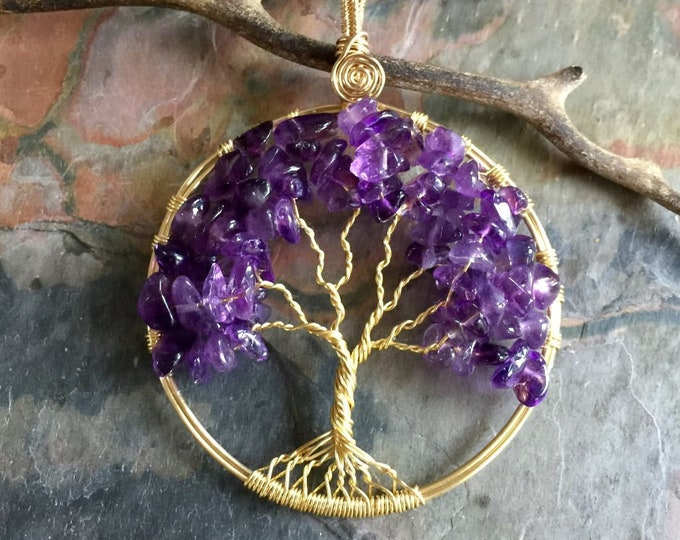 Amethyst Necklace, Amethyst Tree of Life Necklace in Gold,LARGE Tree of Life Necklace,FEBRUARY  Birthstone Tree of Life Necklace,Family Tree