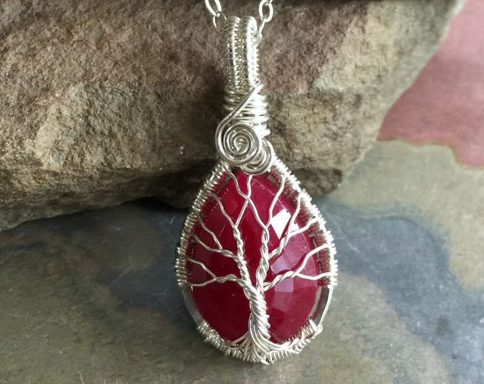Ruby Tree Necklace, Wire Wrapped Sterling Silver Ruby Necklace,July Birthstone Tree of Life Necklace,Ruby Jewelry, Christmas Necklace, Red