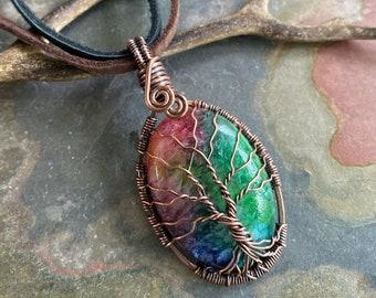 Rainbow Quartz Necklace,Wire Wrapped Raw Aura Quartz Necklace in Copper, Rainbow Aura Quartz Healing Jewelry,Gifts for MOM, Quartz tree