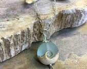 Ocean Wave Necklace, Beach Necklace in Sterling Silver, Pale Aqua Ocean Wave Lampwork Glass Necklace Sterling Silver, Ocean Wave Necklace,