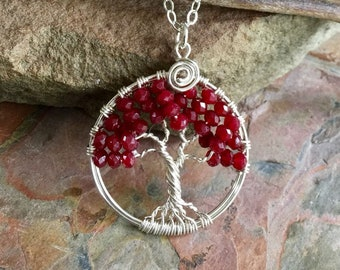 Ruby Tree of Life Necklace in Sterling Silver,Genuine Ruby Pendant Necklace,July Birthstone Necklace, Red Necklace, Ruby Jewelry